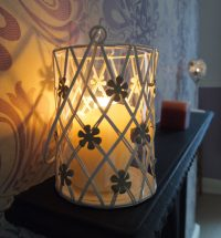Large Metal Tealight Holder with Taupe  Flowers