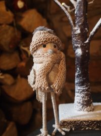Bird with Scarf / Hat Ornament by Parlane (Small Cream)