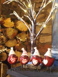 Set of 4 Red & White Festive Robin Ornaments by Parlane