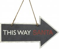 'This Way Santa' Hanging Arrow Sign by Parlane