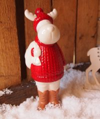 Red & White Santa Claus Ceramic Moose Ornament by Parlane