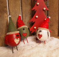 Set of 3 Robin Ornaments with Bobble Hat by Parlane