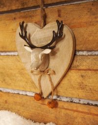 Hanging Wooden Heart with Reindeer Head and Bell Detail by Parlane