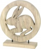 Wooden Grey Hare Ornament on Base by Parlane