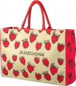 Red & Natural 'juicylicious' Beach Bag with Strawberry Design by Parlane