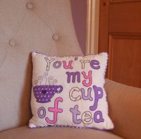 "Square Filled Cushion ""You're my Cup of Tea"" (Lavender)"