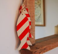 Wooden Hanging Striped Fish (Red / White) by Parlane