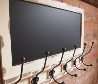 6 Metal Black Hooks with Vintage Finished Blackboard by Sia